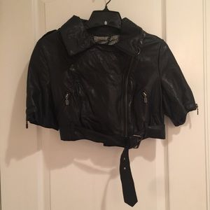 Muubaa Cropped Goat Leather Jacket in Black